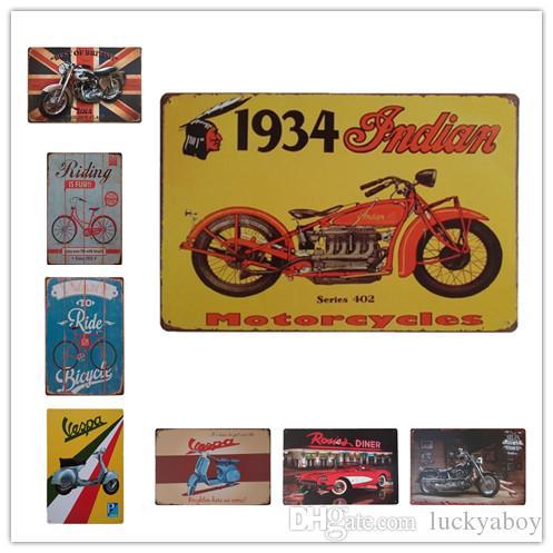 BSA Bicycle Riding Vespa Indian Motorcycles Vintage metal Retro Tin sign Art wall decoration House Cafe Bar Vintage Metal craft