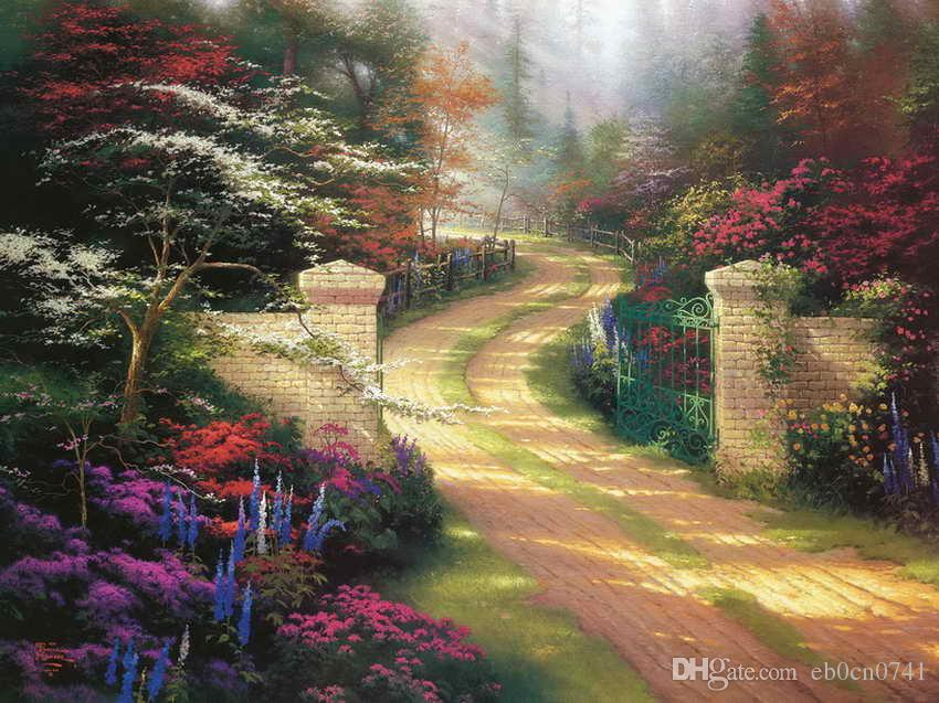 Spring Gate Thomas Kinkade pinturas al óleo Wall Art HD moderna impresión en la decoración de la lona sin marco