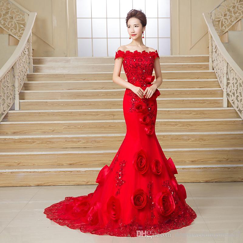vestido де Нойва горячей продажи Русалка свадебное платье 2018 с плеча цветы свадебные платья свадебные платья красный халат де mariage плюс размер 2018