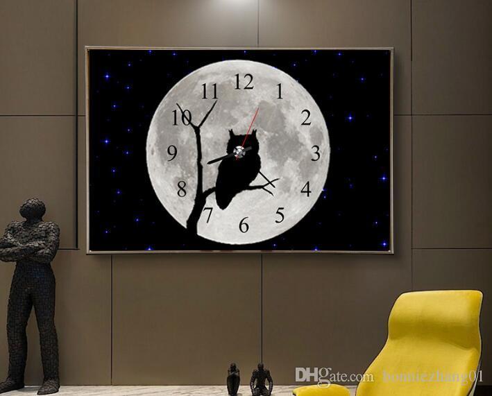 الماس التطريز الظلام ليلة البومة كامل حجر الراين 5d اليدويه الماس اللوحة ساعة الحائط ديكور المنزل مع حركة الساعة 73 * 50 سنتيمتر