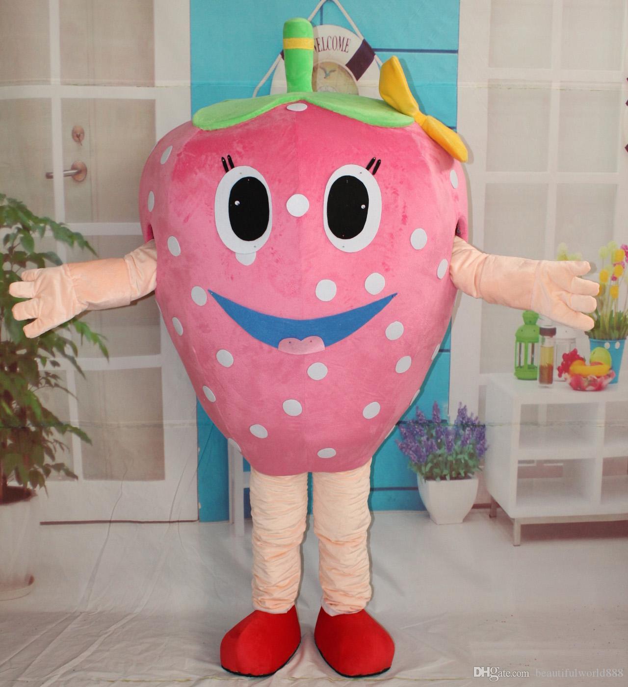 2018 wysokiej jakości gorący różowy kolor szczęśliwy twarz stroje maskotki truskawkowe dla dorosłych do noszenia na sprzedaż