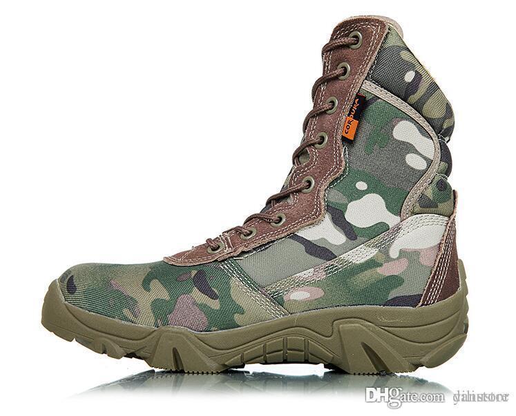 Mais novo Botas de camuflagem botas especiais botas de camuflagem botas de camuflagem dos soldados especiais outono inverno novo produto sapato de montanha tamanho US8-12