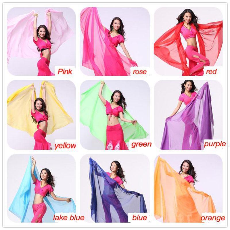 2016 High quality women cheap chiffon belly dance veil silk red for sale 250*120 cm