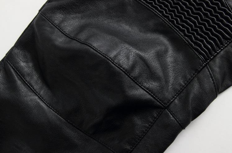 Großhandel Schwarze Leder Biker Jeans Herren Runway Biker Homme Jeanswear Skinny Slim Denim Hose Cowboy Berühmte Marke Reißverschluss Designer Herren