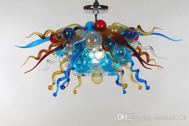 Turkish Style Hand Blown Colorful Murano Glass Chandelier Light Hotel Decor AC LED Hanging Glass LED Small and Cheap Pendant Lamps