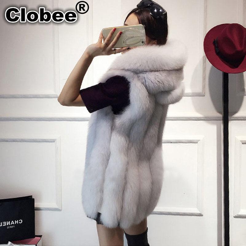 2018 Plus Size 6XL cappuccio della pelliccia delle donne della maglia della pelliccia del Faux maglia a strisce lunghe Gilet donna senza maniche del cappotto giacca invernale