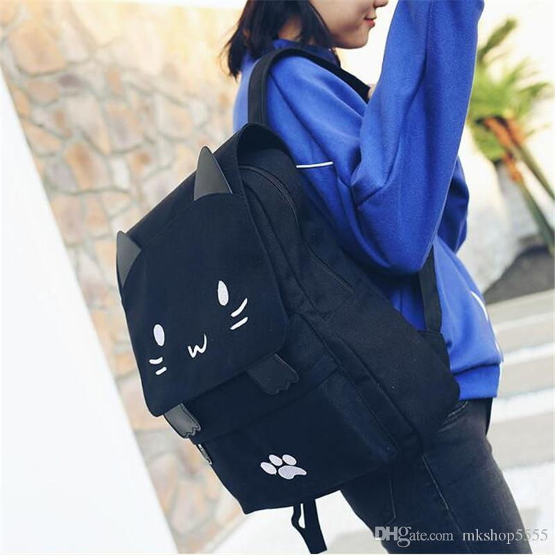 Cute Kitty Backpack Cartoon Casual Fashion Girl School Backpacks Bookbag Travel Shoulder Bag Canvas Embroidered Shoulder Bag