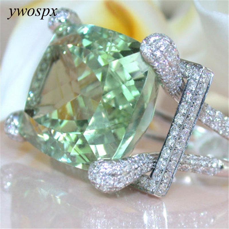 YWOSPX Luxo Verde Cristal Cor De Prata Anéis Para As Mulheres Declaração de Moda Jóias Zircon Wedding Cubic Zirconia Anel Presentes Y20