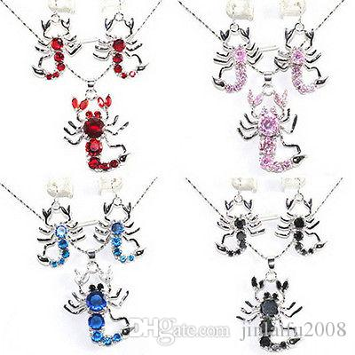 Red Pink Blue Black Cubic Zirconia Crystal Scorpion Pendant Earrings & Necklace