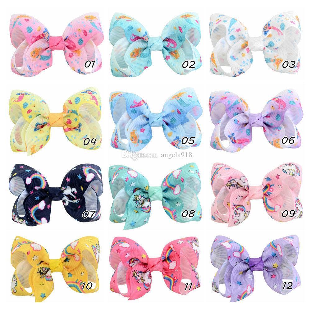 12 renkler Bebek kız Unicorn yay hairclip 8 cm renkli şerit saç klip bebek Saç aksesuarları H152