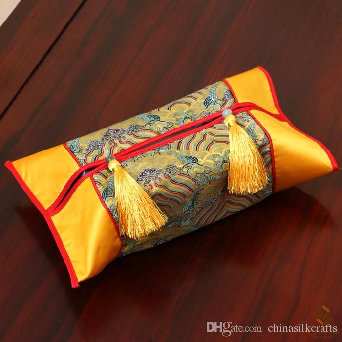 하이 엔드 럭셔리 술 크리스마스 티슈 박스 커버 장식 중국어 얼굴 냅킨 케이스 Thicken Silk Brocade 크리넥스 티슈 박스 커버