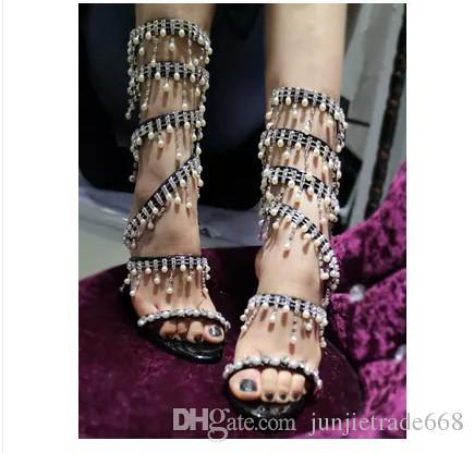 2018 Europe e America cavigliere di perle vuote cinturino scarpe col tacco alto di alta qualità passerella moda personalità stivali freddi