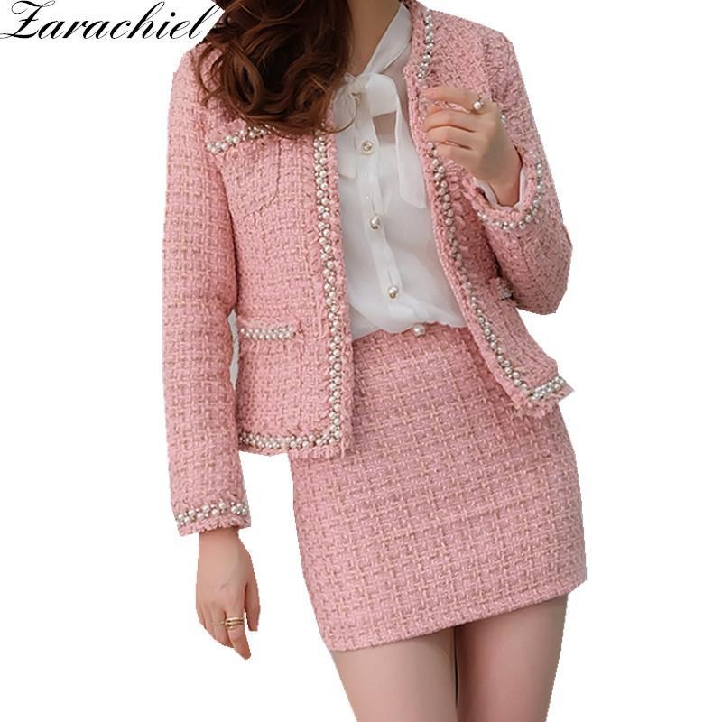 nuovo arrivo 18301 66957 Acquista Zarachiel Pink Tweed Jacket + Gonna A Tubino Tuta Invernale Donna  Cappotto Corto Piccole Perle Profumate Ladies Wool Set A Due Pezzi A $56.53  ...