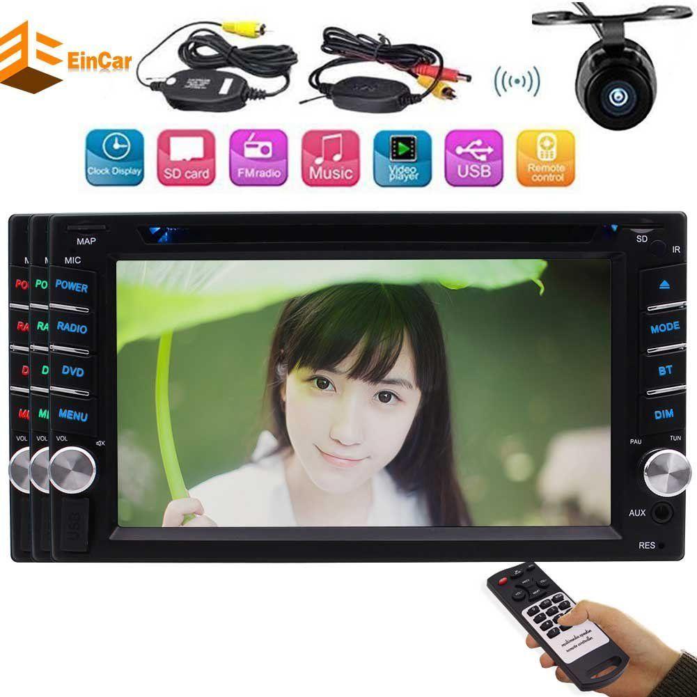 راديو السيارة Eincar 2din ستيريو 6.2 بوصة Headunit Bluetooth FM AM Receiver USB SD Aux EQ الوسائط المتعددة السيارات الصوت autoradio car DVD + كاميرا لاسلكية