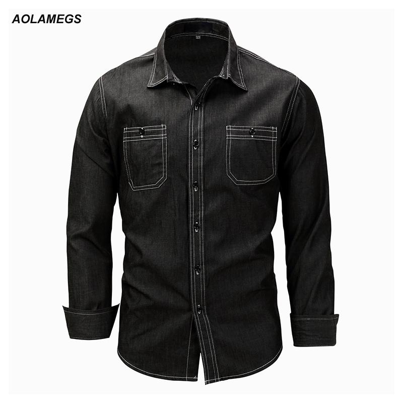 Aolamegs Denim Shirts Men Long Sleeved With Chest Pockets Jean Shirt Solid Color Fashion Casual Cotton Shirts Plus Size M-XXXL