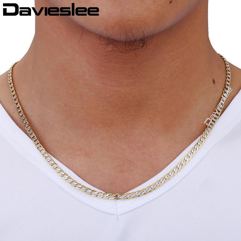 Davieslee Mens Womens Collana in oro giallo con catena piena Curb Cuban Link Hip Hop Collana in argento con gioielli 4mm LGN64