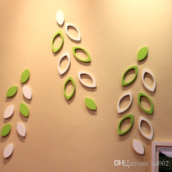 Forma de hoja Etiqueta de la pared Extraíble Pegatinas 3D de madera de alta densidad Sólido ahuecado Diseño Paster Factory Direct 3 9hj B