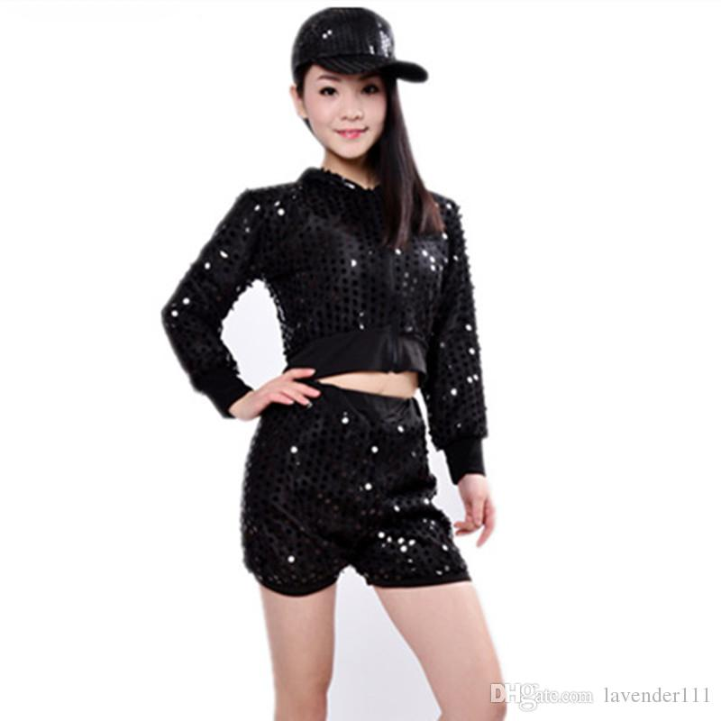 Jazz Modern dancing performance clothes Prom Bar Hip Hop costumes Bright Sequins Adult female suits Dance Group show stage wears