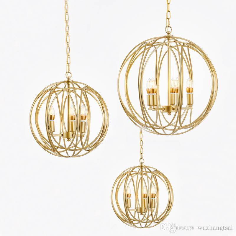 Modern luxury golden global ball pendant light lamp LED living dinning room bedroom stylish gold globe LED hanging lamp light