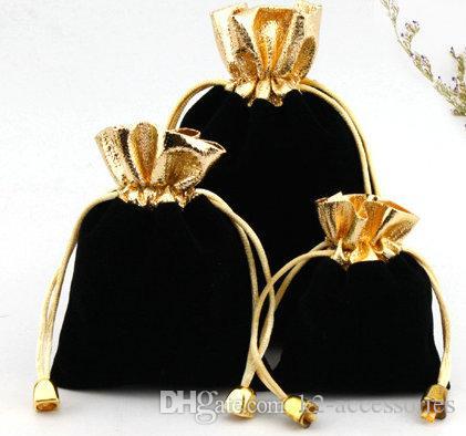 100 قطعة / الوحدة الأسود 7x9 سنتيمتر 9x12 سنتيمتر المخملية مطرز الرباط الحقائب مجوهرات هدية الحقيبة أكياس الرباط لحضور الزفاف، الخرز