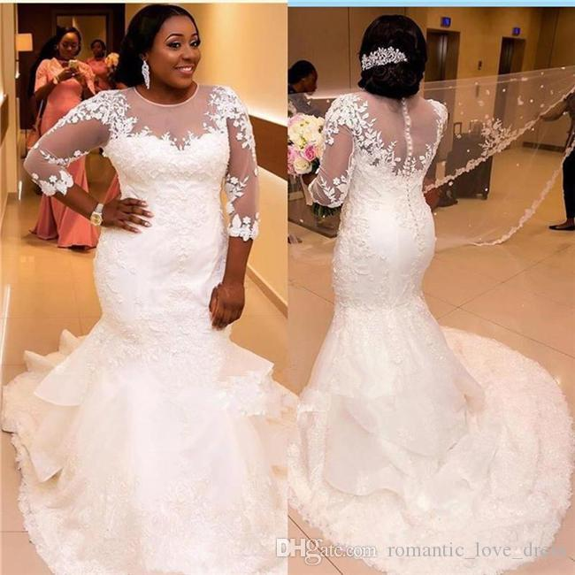 Más el tamaño de sirena vestidos de encaje vestidos de novia 2019 Nuevo 3/4 manga larga de África Courtl tren con volantes de tul vestidos de novia Sheer W70