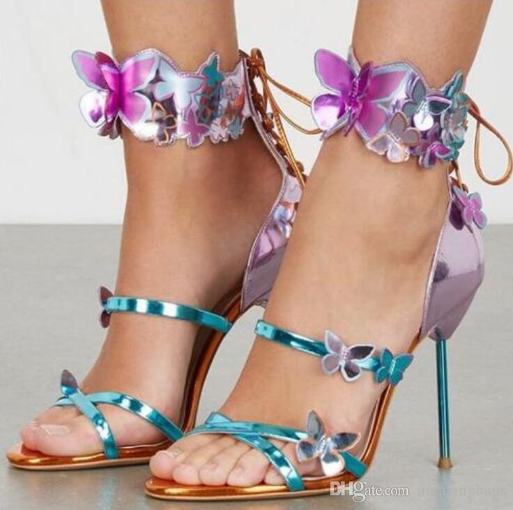 섹시한 로사 하모니 메탈릭 가죽 Turquoise Strap Butterfly shoes Appliques 검투사 샌들 세련된 백 레이스 업 하이힐