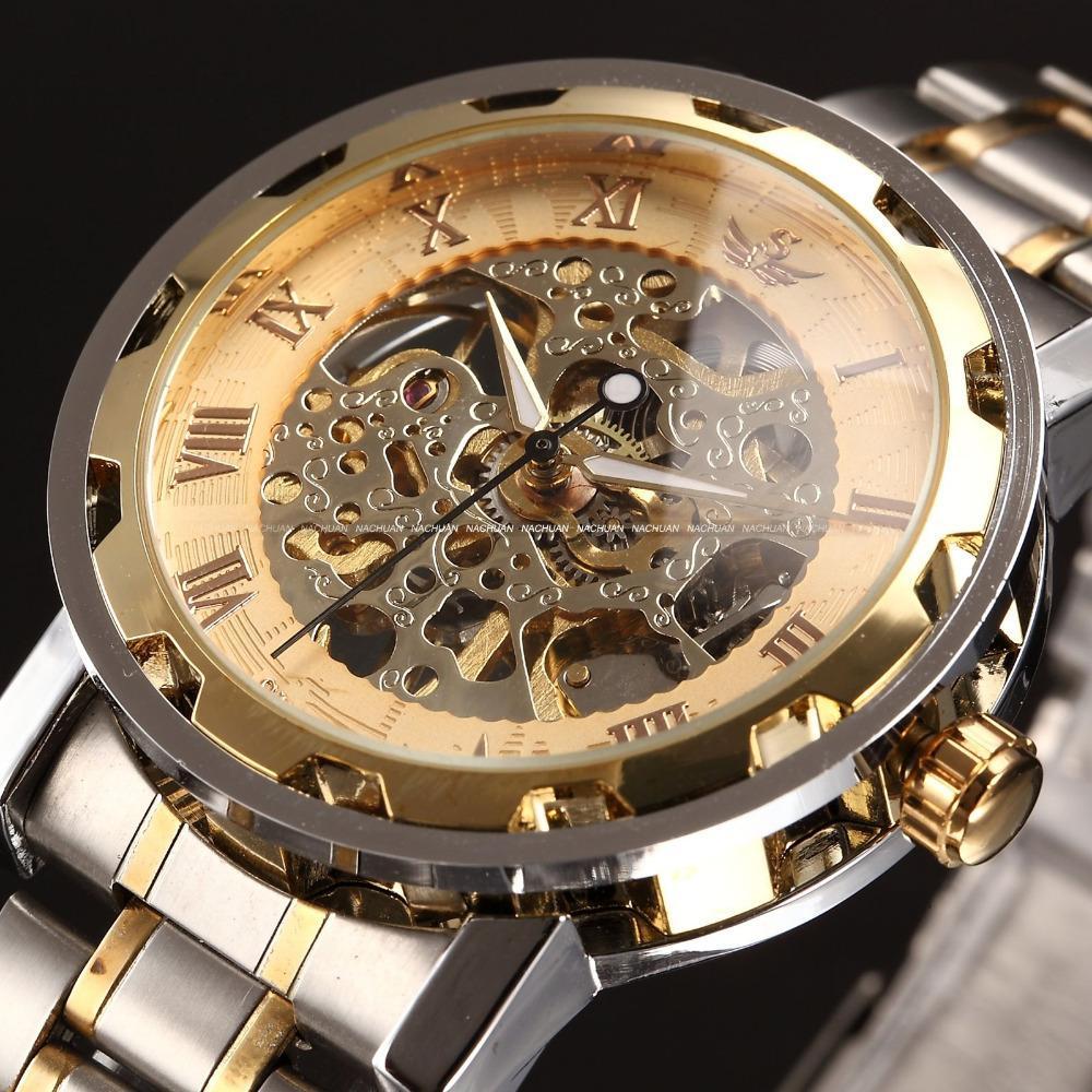 SEWOR Altın Erkekler İskelet Mekanik İzle Paslanmaz Çelik Erkekler için El Rüzgar Saatler Şeffaf Steampunk Montre Homme Saatler D18100706