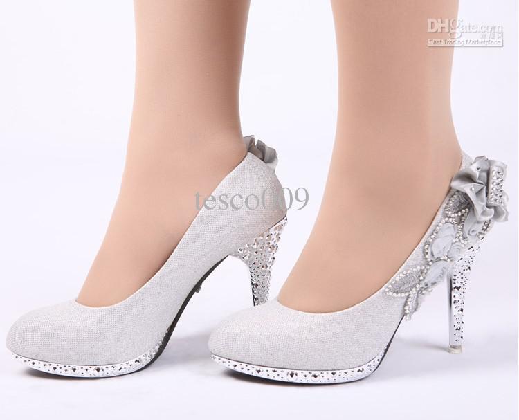 New Glitter Silver Bridal High Heels