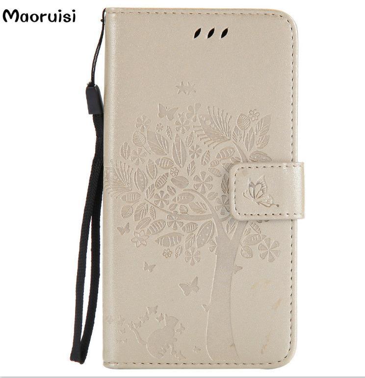 Etuis portefeuille en cuir avec étui à rabat pour Fundas Etui Huawei p10 Lite Pour Etui Huawei P10 / P10 Plus Coque 3D Pattern Tree Cat