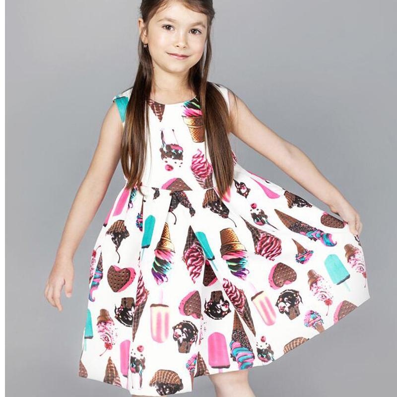 VORO BEVE 2017 New Spring Girl Sleeveless Prinzessin Kleid Mädchen Party Kleid Ice Cream Print Kinder Kinder Kleid für Mädchen Kleider