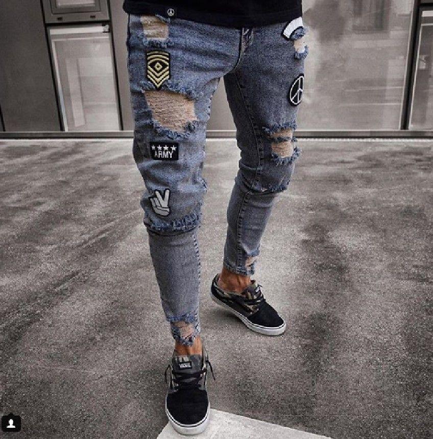 Hombres elegantes jeans rasgados ciclista delgado recto deshilachado pantalones de mezclilla moda pantalones flacos