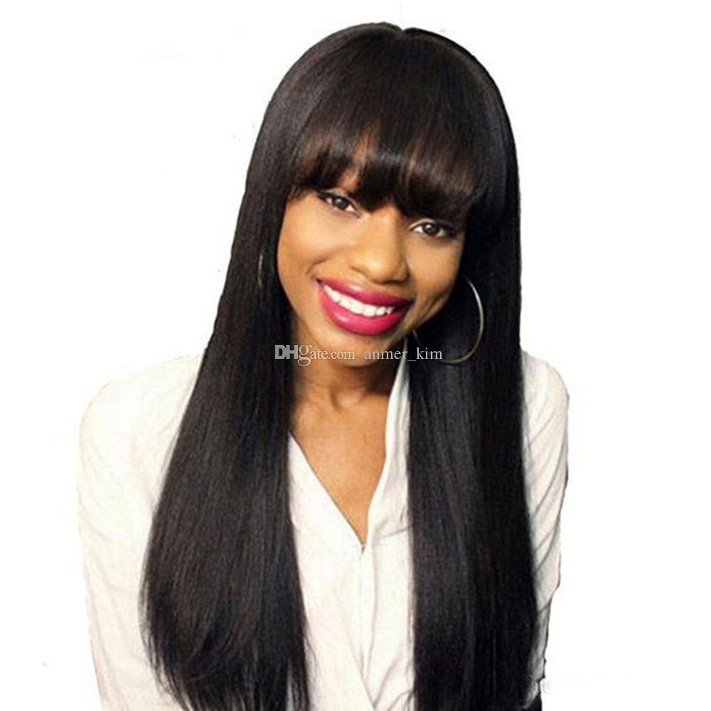 Nature bangs tangle free aaaaaaaa long 100% unprocessed virgin remy human hair natural color natural straight full lace cap wig for girl