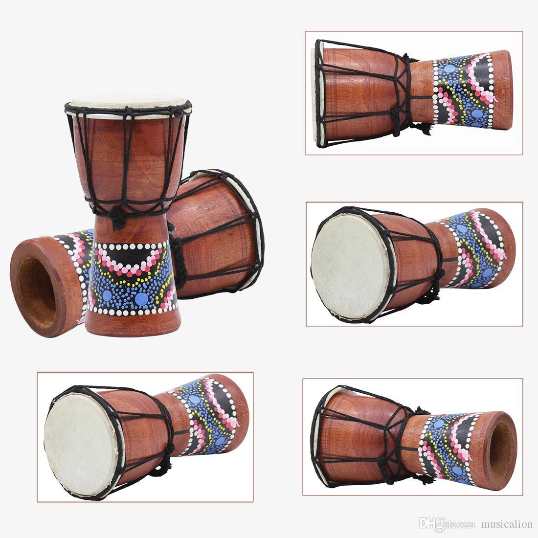Afrikanische kleine Trommeltrommel vier Zoll kleine Handtrommel-Kinder-Erwachsenen-Praxis-Trommeln handgefertigt 18x12,7 cm