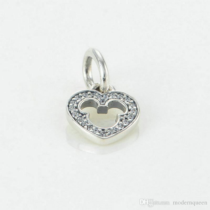 5 pezzi / lotto Dissjust charms a forma di cuore S925 sterling silver adatti braccialetti di stile fai da te 791557cz H6