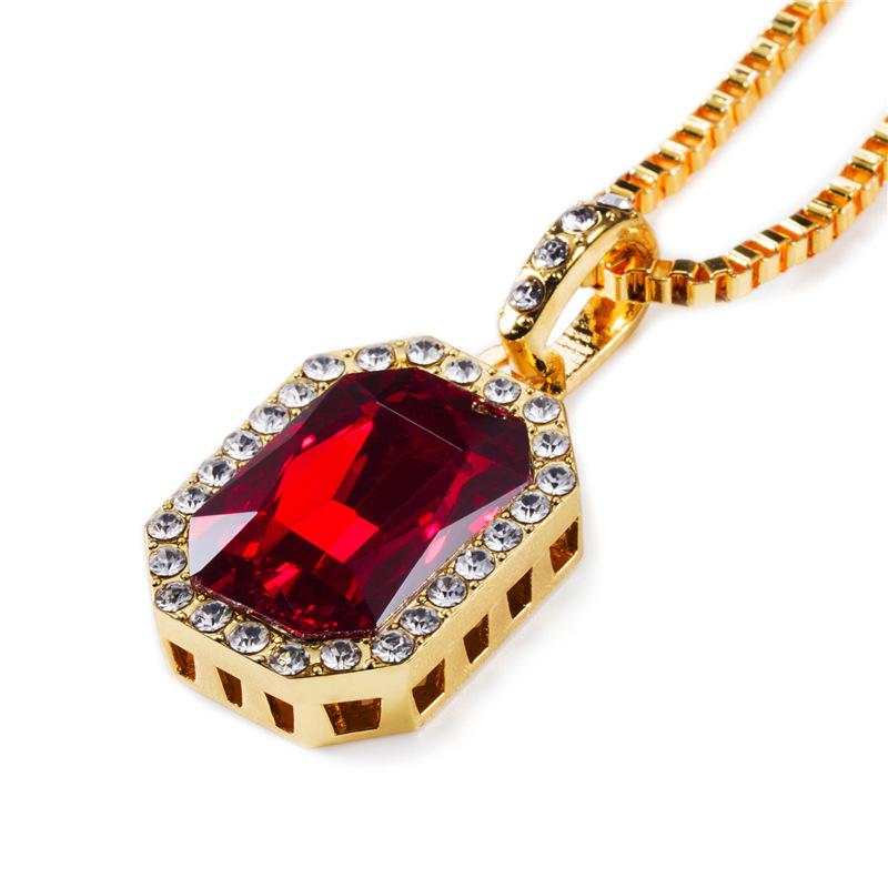 """New Mens Bling Rhinestone Pendant Necklace 24"""" 30"""" Box Chain Gold Color Iced Out Crystal Rock Rap Hip Hop Jewelry for Gift"""