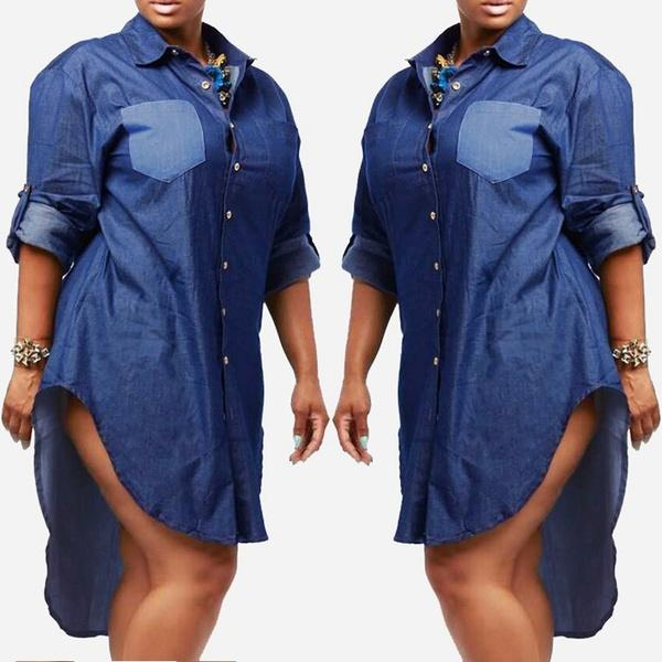 Plus Size Women Turn Down Long Sleeve Denim Jean Button Down Shirt Dress  Casual Tops Ladies Dresses Styles Dresses Dresses From Lovingggg, &Price;|  ...