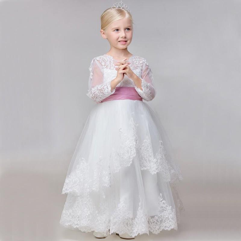 Charme Bowknot Lace Tulle Flower Girl Dresses Wedding Party Dress Princess Pageant Kids Occasioni formali Bambini Dress GHTF86