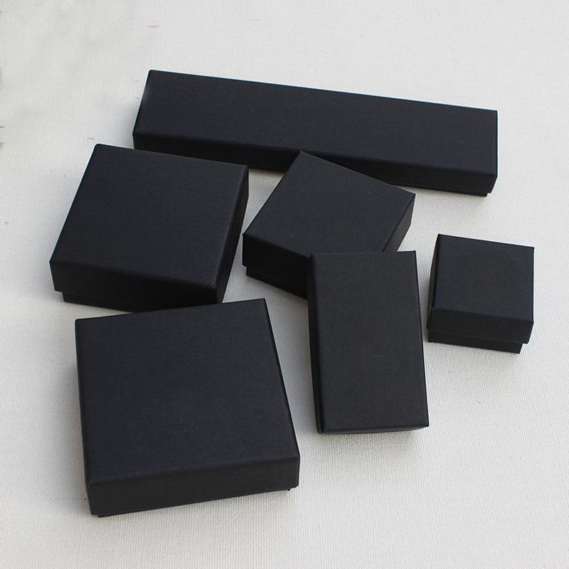 Takı Hediye ve Perakende Kutuları Siyah Kraft Ambalaj Bilezik Kolye Yüzük Kulak Tırnak Kutusu Noel Yeni Yıl Hediye Özelleştirmek 10 Boyutu Seç