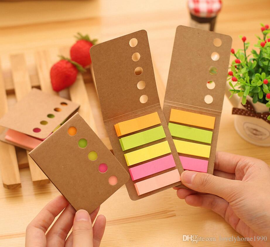 Kraft Paper Cover Candy Color Memo Pad N-times Sticky Notes Bookmark Notepad