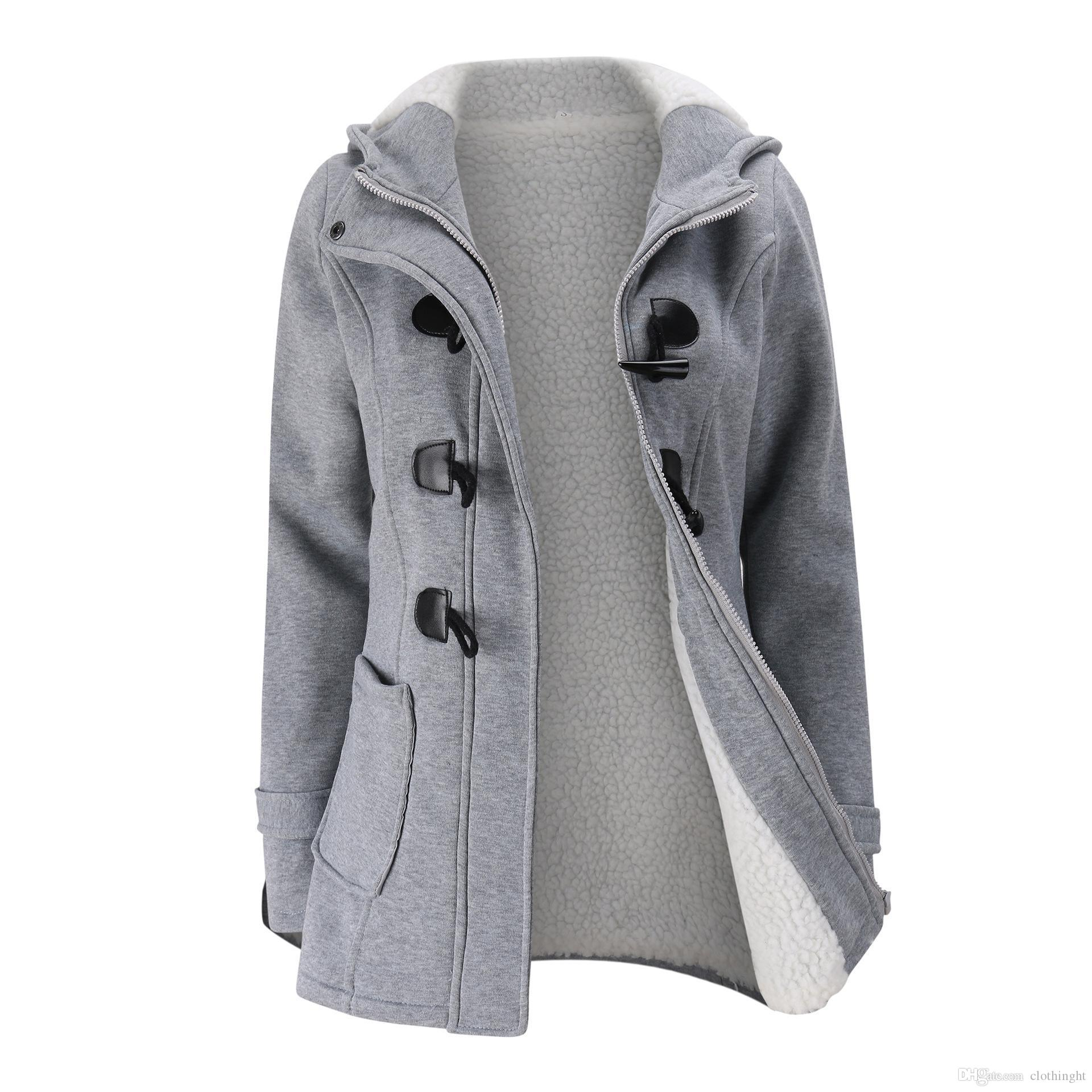 Wholesale- Women Clothing Warm Coat Jacket Outwear Winter Hooded Long Parka Overcoat Tops Plush and thicker 2018 New FYW.
