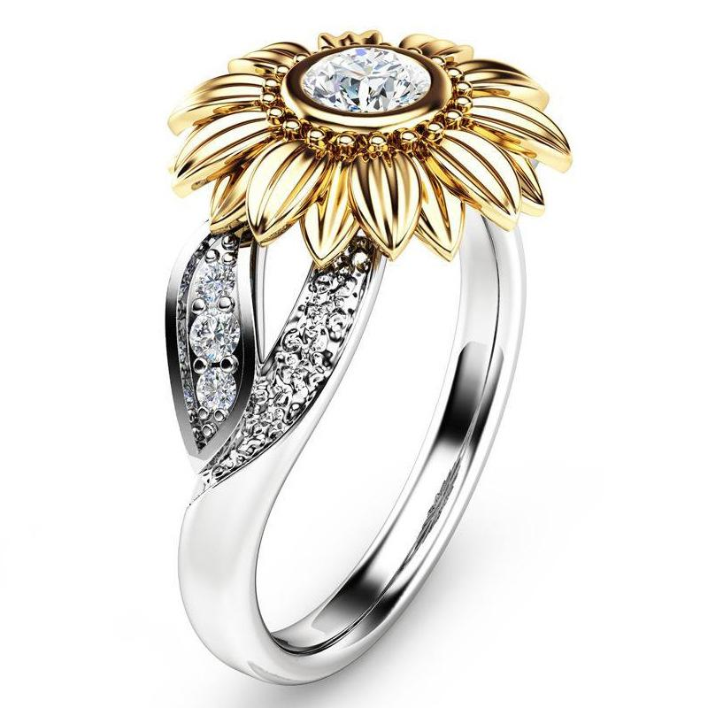 Crystal Cubic Zirconia Ring band finger Gold Sunflower Flower rings Fashion Jewelry Gift for Women will and sandy