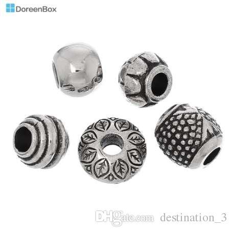 Doreen Box 50pcs misto argento antico perline in acrilico perline distanziatori misura fascino europeo (B03266)