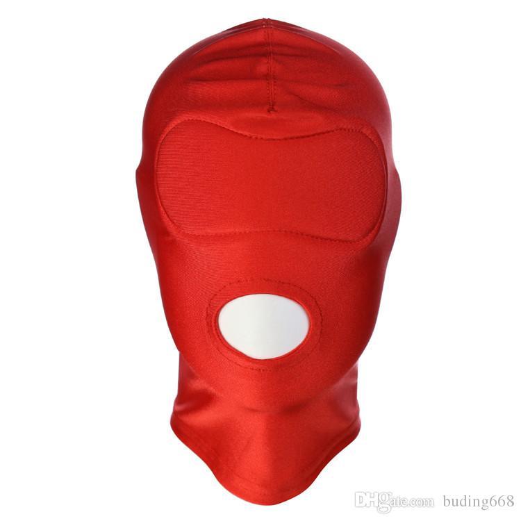 Capucha de cuero BDSM Bondage para juegos de adultos Máscaras completas Fetish Face Locking Blindfold for Sex