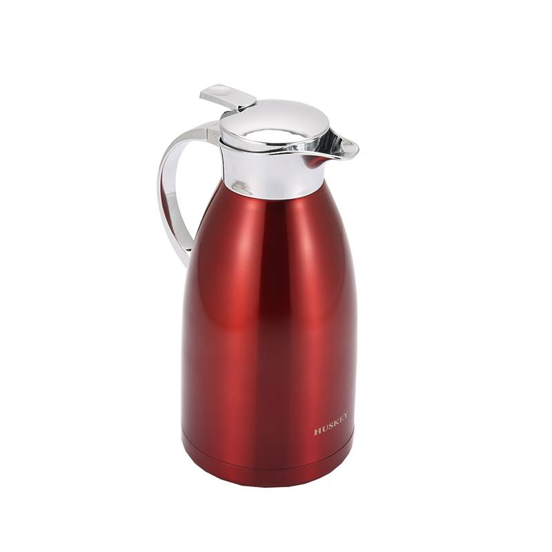 2L Coffee Thermal Carafe with Lid - 18/8 Stainless Steel Coffee Carafe by HUSKEY - Double Walled Vacuum