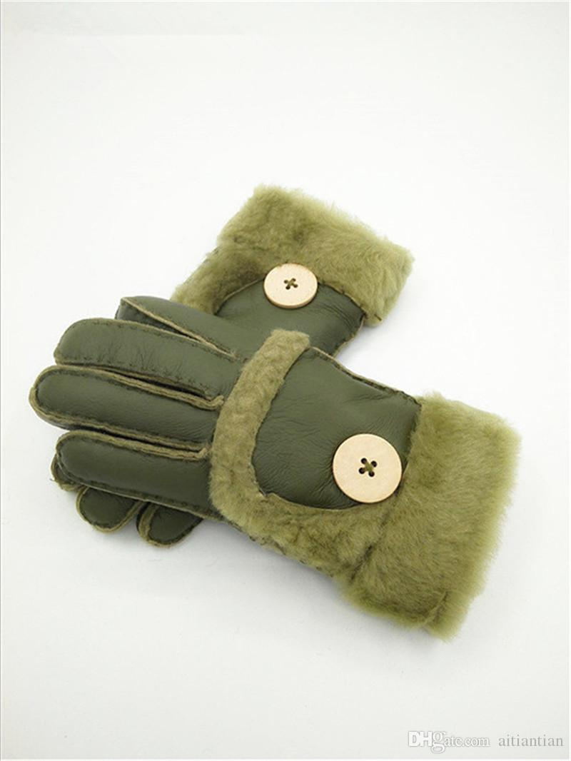 Free Shipping - Winter New Women Warm Wool Gloves 100% Leather Gloves Leisure