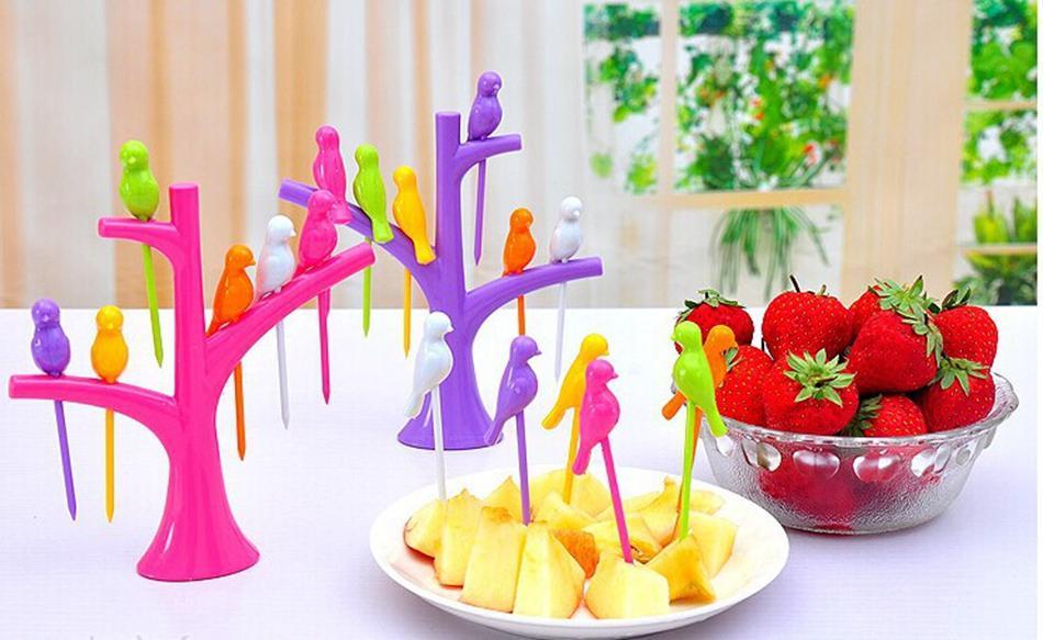 Fourche oiseau fruits Snack fourchettes à dessert décoration maison arbre Forme Titulaire Rack New-S
