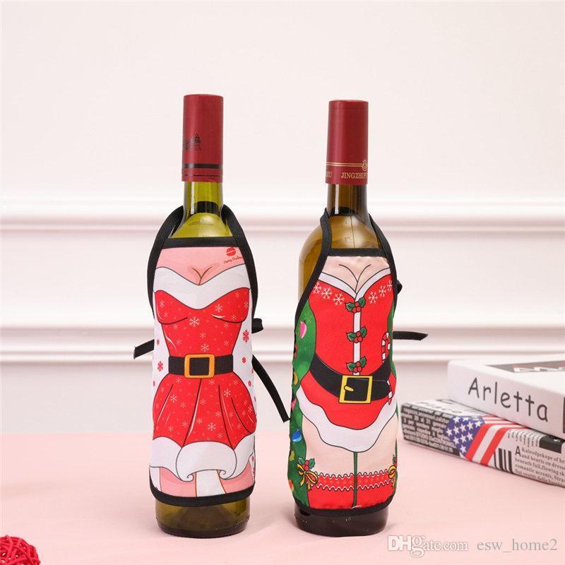 مصغرة غطاء المئزر زجاجة النبيذ عيد الميلاد مثير سيدة عيد الميلاد الكلب سانتا النبيذ الاحمر زجاجة المجمع عطلة زجاجة الملابس اللباس