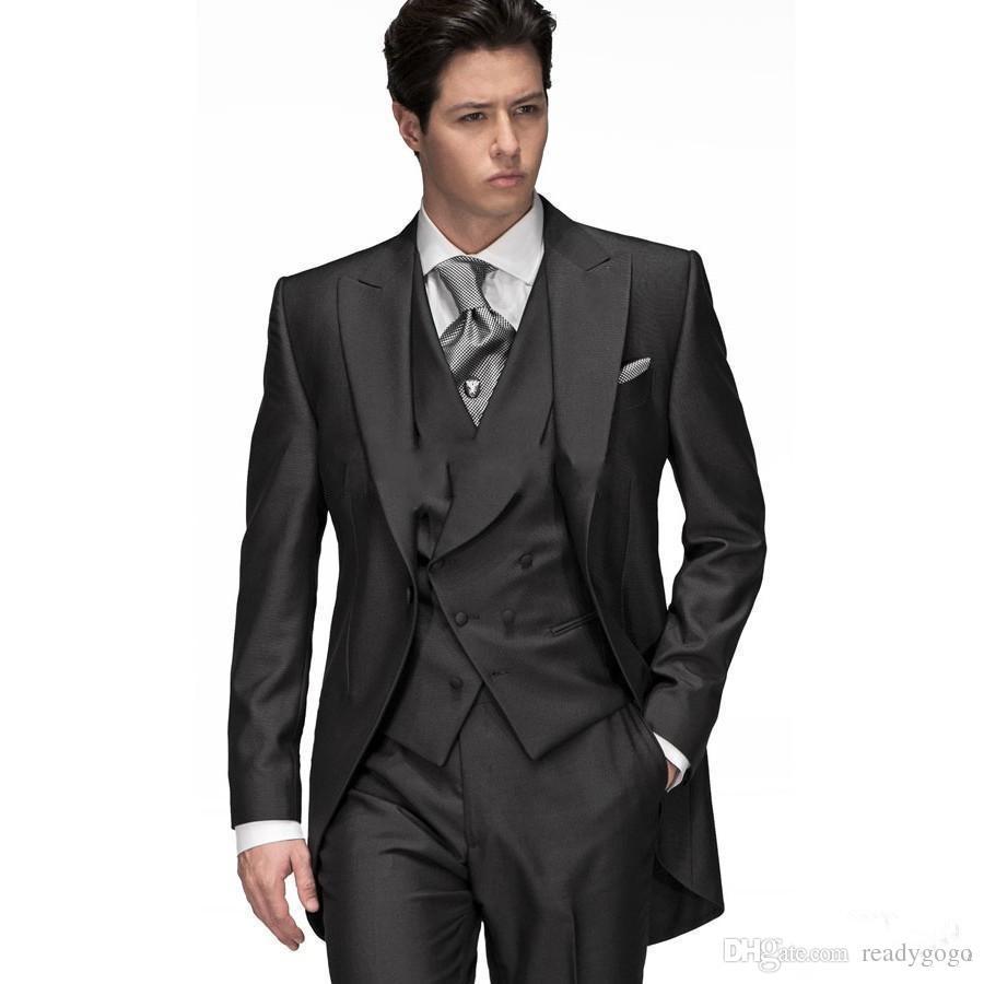 (자켓 + 조끼 + 바지) 3 조각 첨단 옷깃 하나 버튼 Groooom Tuxedos 사용자 정의 정식 행사 망 정장 댄스 파티 결혼 복장