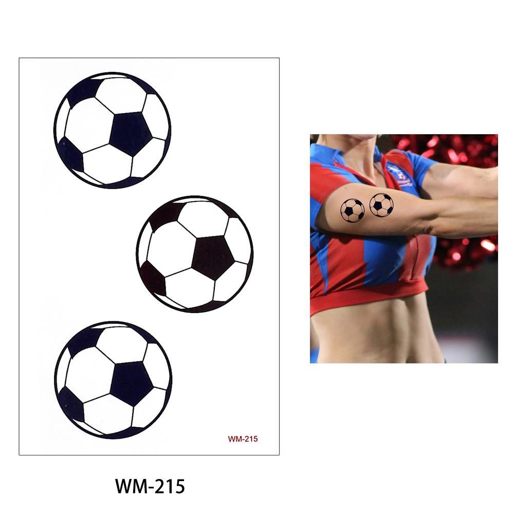 Copa do mundo Glaryyears 50 folhas desenhos de tatuagem de corpo de futebol pequeno decalque jogo de esportes fãs tatuagem temporária adesivo Hot WM-215