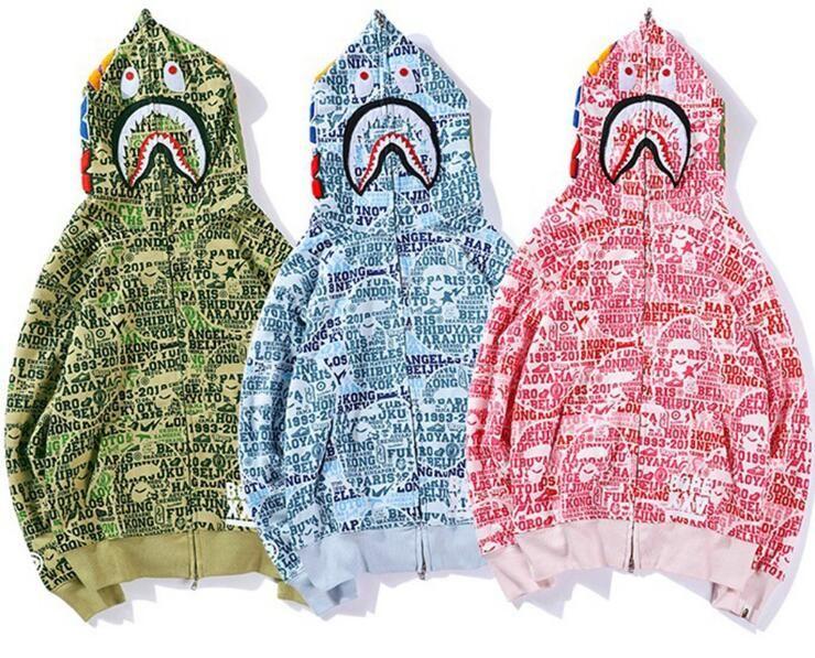 Neue Großhandel Herbst Winter Männer Frauen Rosa Blau Grün Camo Print Hoodies Herren Lose Mit Kapuze Reißverschluss Jacke Hoodies Größen M-2XL